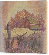 Macgregors Barn Pstl Wood Print by Carol Wisniewski