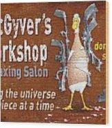 Macgyvers Workshop Wood Print