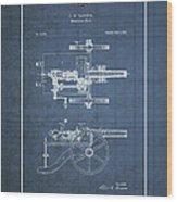 Machine Gun - Automatic Cannon By C.e. Barnes - Vintage Patent Blueprint Wood Print
