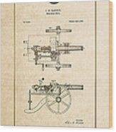 Machine Gun - Automatic Cannon By C.e. Barnes - Vintage Patent Document Wood Print
