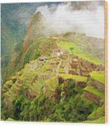 Machu Picchu Textured 2 Wood Print
