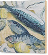 Mackerel With Oysters And Lemons, 1993 Oil On Paper Wood Print