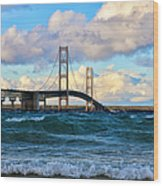 Mackinac Among The Waves Wood Print