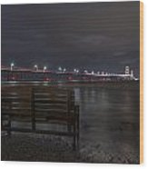 Mackinac Bridge And Bench Wood Print