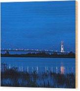 Mackinac Bridge At Dawn Wood Print