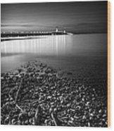 Mackinac Bridge Bw Wood Print