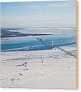 Mackinac Bridge In February Wood Print