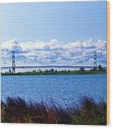Mackinac Bridge Landscaped Wood Print