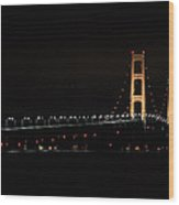 Mackinac Bridge Night Shot II Wood Print