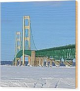 Mackinac Bridge On Ice Wood Print