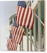 Mackinac Island Michigan - The Grand Hotel - American Flags Wood Print