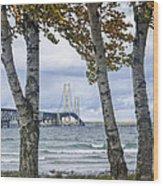 Mackinaw Bridge In Autumn By The Straits Of Mackinac Wood Print