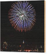 Fireworks Over The Empire State Building Wood Print by Nishanth Gopinathan