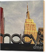 Macy's With Empire State Building - Famous Buildings And Landmarks Of New York City Wood Print