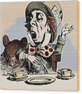 Mad Hatter Color Wood Print by John Tenniel