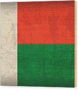 Madagascar Flag Vintage Distressed Finish Wood Print