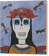 Madame Dragonfly Day Of The Dead Wood Print