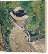 Madame Manet At Bellevue Wood Print
