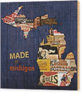Made In Michigan Products Vintage Map On Wood Wood Print