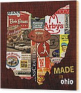 Made In Ohio Products Vintage Map On Wood Wood Print