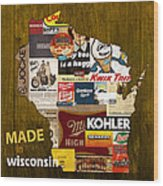 Made In Wisconsin Products Vintage Map On Wood Wood Print
