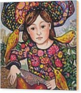 Madeline with flowers and birds Wood Print