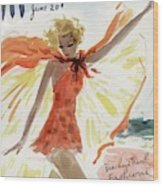 Mademoiselle Cover Featuring A Model At The Beach Wood Print