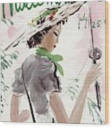 Mademoiselle Cover Featuring A Woman Holding Wood Print