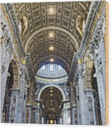 Maderno's Nave Ceiling Wood Print