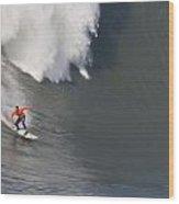 Madman At Mavericks Surf Contest Wood Print