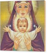 Madonna And Baby Jesus Wood Print by Zorina Baldescu