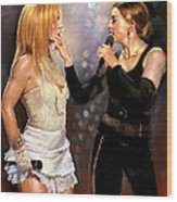 Madonna And Britney Spears  Wood Print