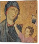 Madonna And Child Enthroned  Wood Print