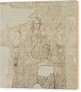 Madonna And Child Enthroned, Drawing For A Fresco Sinopia On Paper Wood Print