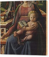 Madonna And Child Enthroned With Two Angels Wood Print
