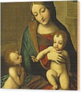 Madonna And Child With The Infant Saint John Wood Print