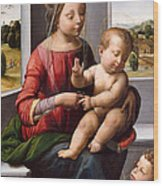 Madonna And Child With The Young Saint John The Baptist Wood Print