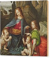 Madonna Of The Rocks Wood Print