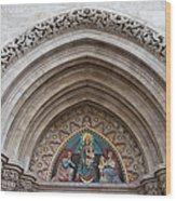 Madonna With Child On Matthias Church Tympanum Wood Print