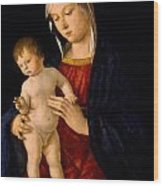 Madonna With The Child Blessing Wood Print