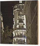 Madrid At Night Wood Print