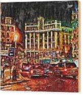 Madrid City Wood Print