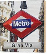 Madrid Metro Sign Wood Print