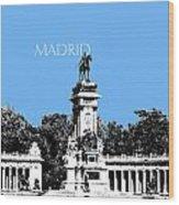 Madrid Skyline Retiro Park - Light Blue Wood Print