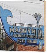 Madryn Lab Whale Sign Wood Print