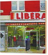 Magazin Liberal Dress Shop On Rue Notre Dame Montreal St.henri City Scenes Carole Spandau Wood Print