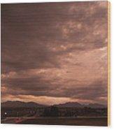 Magenta Clouds Wood Print