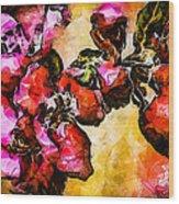 Magenta Flowers  -- Cubism Wood Print