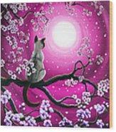Magenta Morning Sakura Wood Print