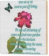 Magenta Red Rose With Butterfly And Quote Wood Print
